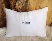 White linen wine letter pillow