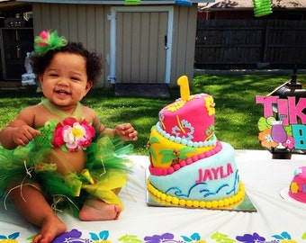 Baby Girl Birthday Outfit - Luau Tutu Outfit - 1st 2nd 3rd Birthday Outfit - Girls Cake Smash - Hawaiian Luau Party