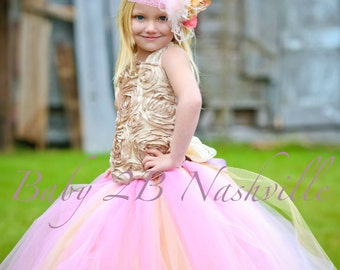 Wedding Dress Flower Girl Dress Pink Dress Gold Dress Tulle Dress Baby Dress Toddler Tutu Dress Girls Dress Party Dress Birthday Dress