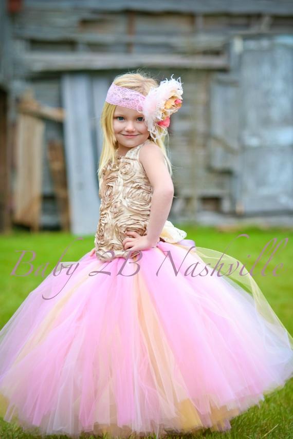 Vintage Wedding Flower Girl Dress / Pink and Gold Flower Girl    All Sizes Girls