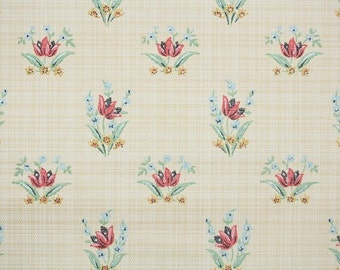 1930's Vintage Wallpaper - Antique Floral Wallpaper with Red Tulips and Tiny Blue Flowers on Mini Plaid