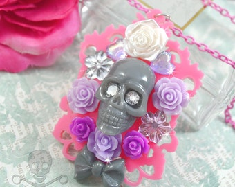 ROSES On My GRAVE- Skull Decoden Pendant Necklace in Grey, Purple, Lavender and Pink