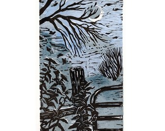 Nite Gate, Wall Art, Linocut Print, Block Print, Relief Art Print, Lino Cut Print, Birthday, Gift, For Him, For Her, Linoleum Print, Art