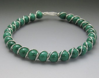 Malachite Beaded Sterling Silver Wire Wrapped Bracelet