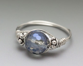 Sapphire Blue Mystic Quartz Bali Sterling Silver Wire Wrapped Ring - Made to Order, Ships Fast!