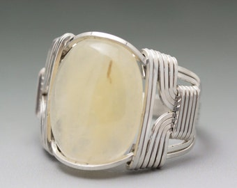Yellow Aragonite Cabochon Sterling Silver Wire Wrapped Ring ANY size