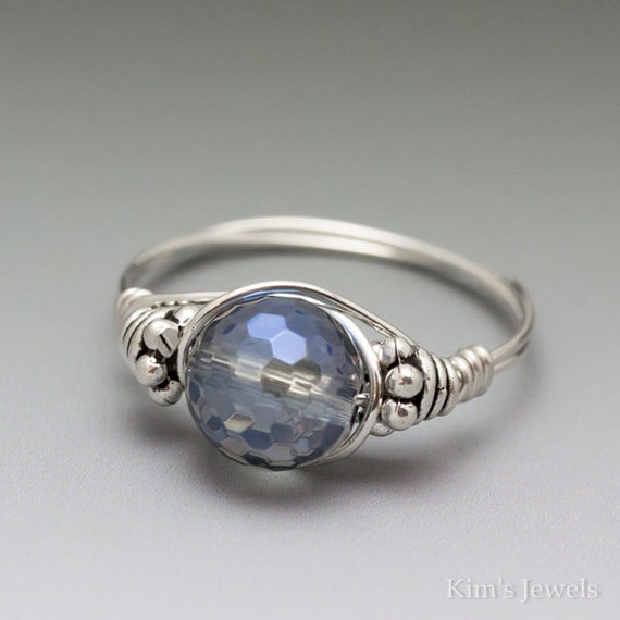 Sapphire Blue Mystic Quartz Bali Sterling Silver Wire Wrapped Ring ANY size