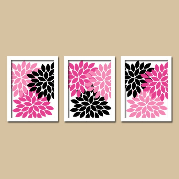 Pink Black Wall Decor : Hot pink black wall art baby girl nursery