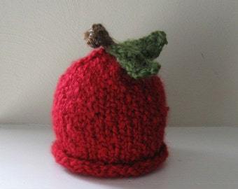 Apple Hat  - Red - Chunky - Harvest - Autumn - Fall - Photo Prop - 3-6 Months - In Stock - Ready to Ship