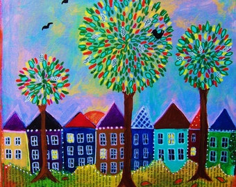 Autumn Eve, folk art, whimsical village and trees,  Maria Greene