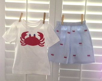 Boys size 12m-4 Crab Seersucker Outfit Shirt and Shorts Sibling set Boutique Custom Maddie Kate