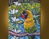 Art Painting Original Painting -- Rainforest Parrot -- 16 x 20 inch painting by Elizabeth Graf on Etsy, READY to HANG