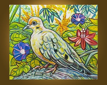 Art Painting Original Painting Etsy fine art -- Dove in the Garden -- 20 x 24 inch painting by Elizabeth Graf, READY to HANG