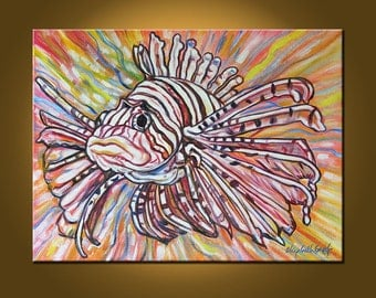 Art Painting Original Painting Etsy -- Lionfish Explosion -- 18 x 24 inch painting by Elizabeth Graf -- READY to HANG