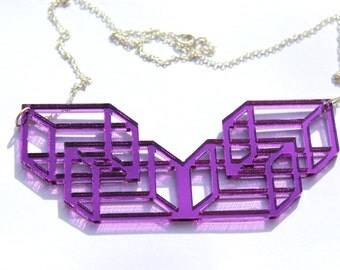 Purple Laser Cut Geometric Necklace Tumbling Cubes in Purple Mirror Acrylic Perspex on Sterling Silver Chain