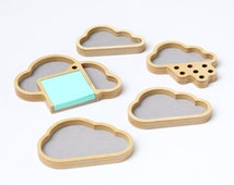Complete Cloud Storage Set of desktop organizers: nesting boxes, desk caddy post-it note holder and pen holder made from Baltic Birch
