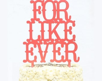 SALE: for like ever rustic or country style wedding cake topper in white, gold, black and maple