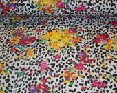 Bright floral leopard on Cotton Poly Lycra Jersey Fabric  1 yard