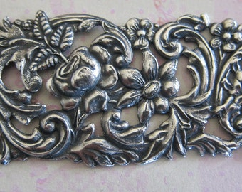 NEW Large Silver Floral Bar Finding 3461