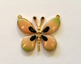 Vintage gold and enamel butterfly pendant