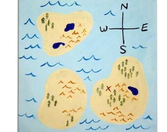 Pirate Map Painting /  Canvas / Children's Art / Kids / Boys Decor / Nursery Decor