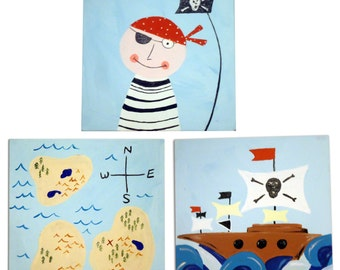 3 Pirate Canvases / Children's Art / Painting / Nursery Decor - Pirate, Pirate Ship, Pirate Map