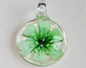 1 piece of Green lampwork flat round pendant 39x28mm