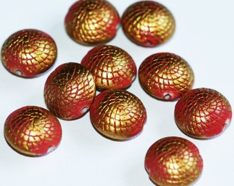 20 pcs of Vintage Acrylic brush beads 17x10mm Red with gold accent