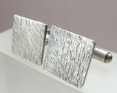 Slate - Square Rustic Textured Sterling Silver Cufflinks - Oxidised Grey Cuff Links - Gift for Man