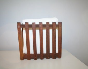 Vintage Wooden Napkin or Letter Holder