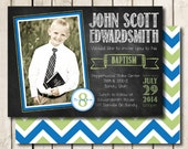 LDS Baptism Invitation Printable for Boys - Chalkboard Style - Any Color Scheme