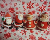 4 Vintage Flocked Christmas Ornies