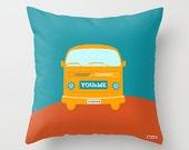 Romantic Decorative throw pillow cover - Volkswagen pillow cover - Couch pillow - Spring Decorative pillow - Van pillow