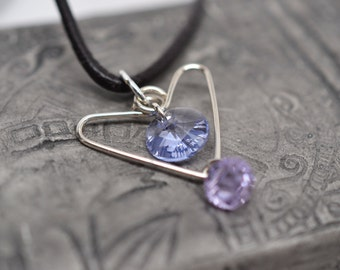 Wire-wrapped heart pendant in sterling silver with Swarovski crystal