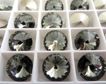 4 Black Diamond Foiled Swarovski  Rivoli Stone 1122 12mm
