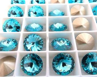 4 Light Turquoise Foiled Swarovski  Rivoli Stone 1122 12mm