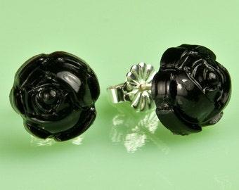 Vintage Black Lucite Rose Button Post Earrings