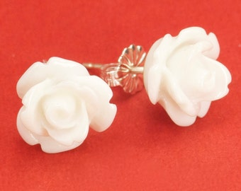 Small White Rose Post Earrings 8mm set on Sterling Silver