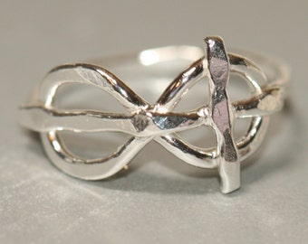 Cross Infinity Eternity Ring, Faith Jewelry, Fine Silver Cross Ring, Rustic Cross Ring, Size 7 Ring, Handmade Ring by Maggie McMane Designs