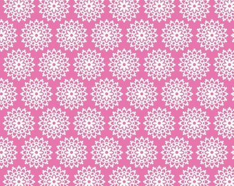 Pink Lovey Lace Fabric by Doodlebug Designs Inc. for Riley Blake LOVEY DOVEY 1 Yard