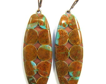 CLEARANCE 50% OFF  Polymer Clay Earrings - Fabulous Faux Collection - Boulder Turquoise Circle Mosaic Earrings