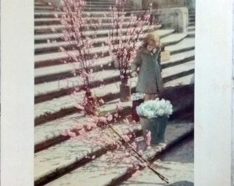 vintage Roman print springtime on the steps of the Trinita dei Monti 1944