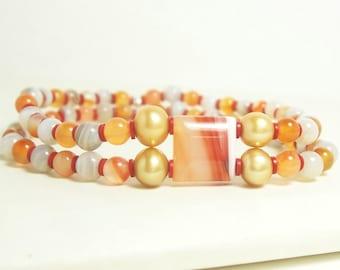 Citrus Zest Elastic Bracelet - Orange, White, Gray, Red and Gold Pearls