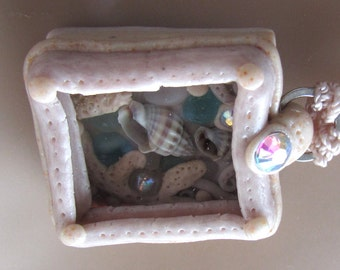 Rhinestone Sandbox Polymer Clay Beach Treasure Seaglass Pendant Necklace