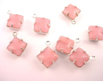 6 Vintage Pink Moonstone Glass Square Charms 8mm 1 Ring silver setting