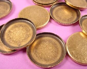 12 Brass  ox oval serrated notched Bezel Cups Wall bezel 18mm