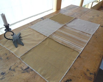 Table Runner in Shades of Cream, Beige And White Using Five Different Designer Fabrics