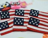 Set of 6pcs handmade felt American flag w/ swarovski crystal (FT727)