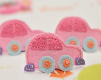 NEW! 6pcs handmade felt Cars--baby pink (FT723)