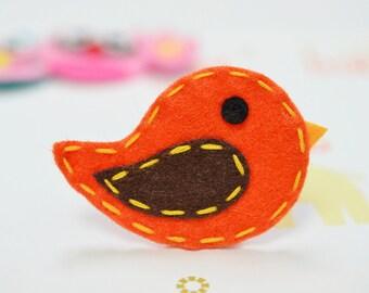 New! Thanksgiving birds Set of 6pcs handmade felt bird--orange (FT869)